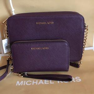 💦🌻mk crossbody set🌻large/bag & wallet/leather